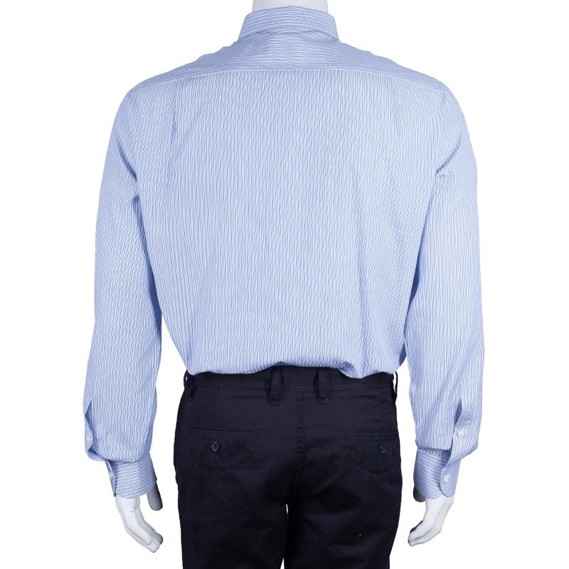 Ermenegildo Zegna Mens Blue Striped Shirt L