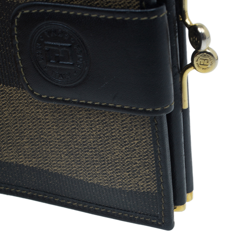 Fendi Pequin Canvas French Wallet