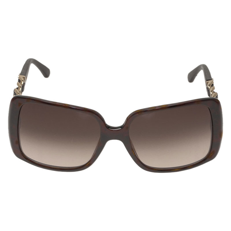 Chanel Tortoise Chain Link 5208 Oversized Square Sunglasses