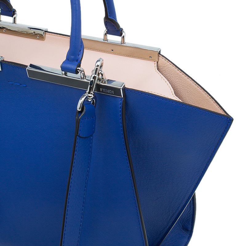 Fendi Blue Calfskin Leather 3Jours Tote Bag with Wallet