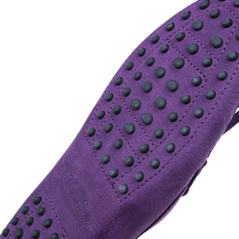 Tod's Purple Suede Heaven Fringe Loafers Size 37.5