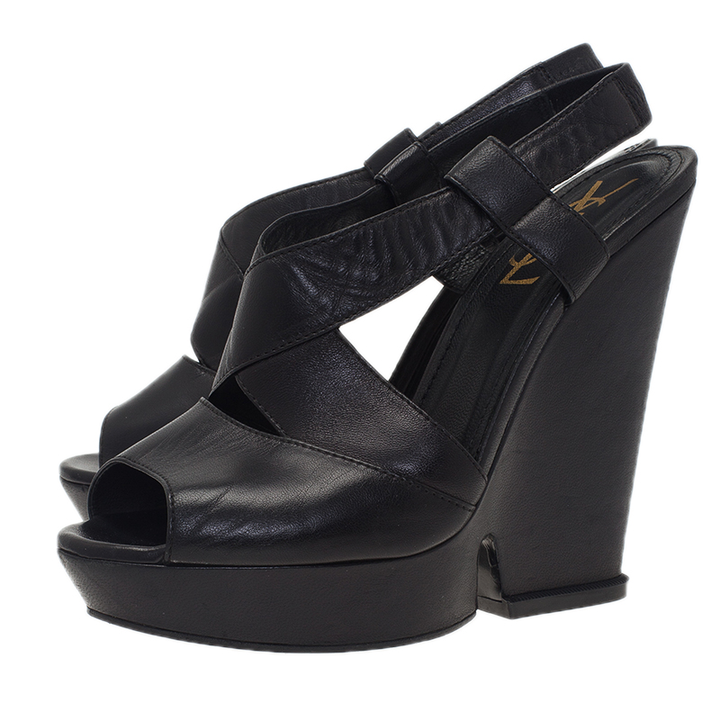 Saint Laurent Paris Black Leather Wedge Sandals Size 38.5