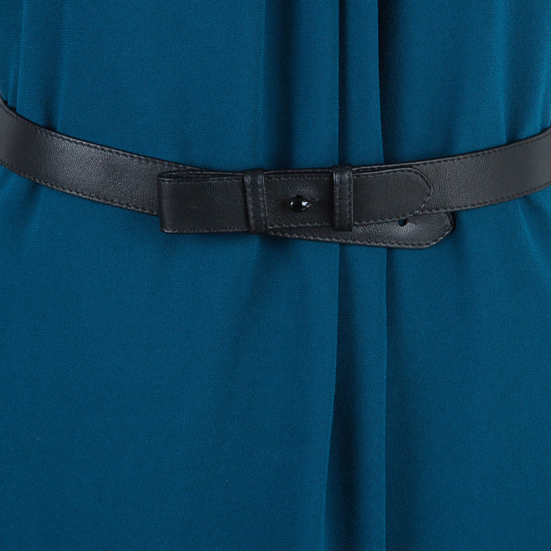 Burberry London Teal Bethy Belted Crepe Dress M