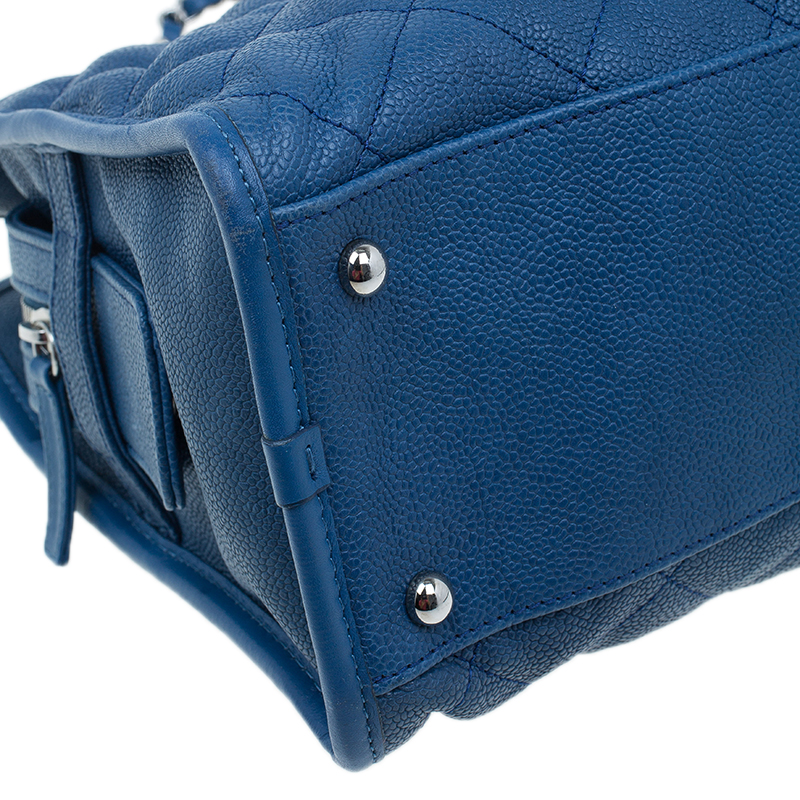 Chanel Blue Caviar Quilted Leather Riviera Medium Zipped Shopping Tote