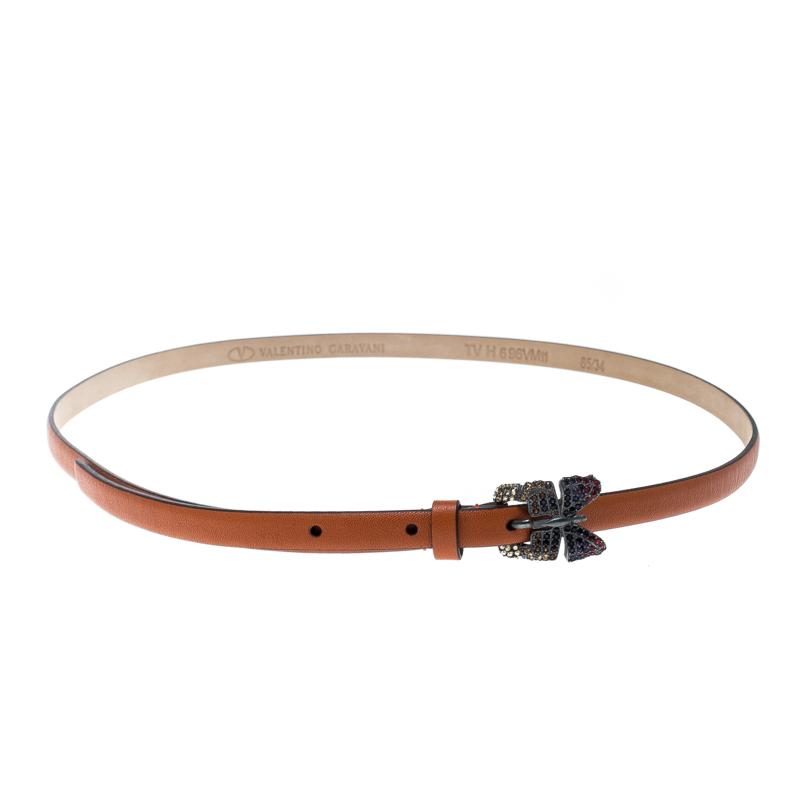 Купить со скидкой Valentino Brown Leather Crystal Embellished Butterfly Skinny Buckle Belt 95cm