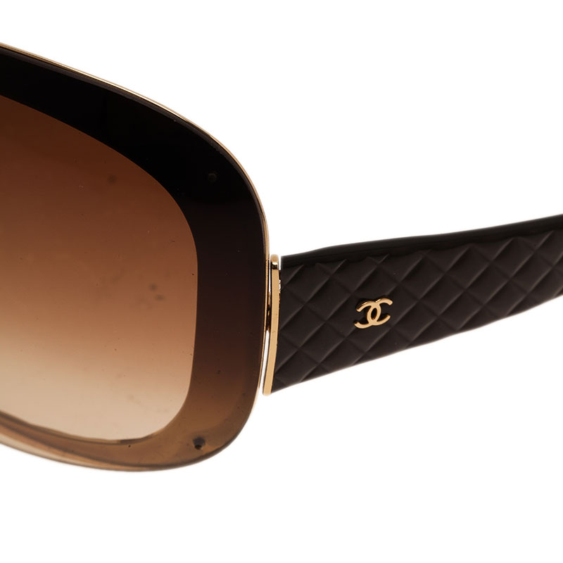 Chanel Brown Quilted 4159 Oval Sunglasses