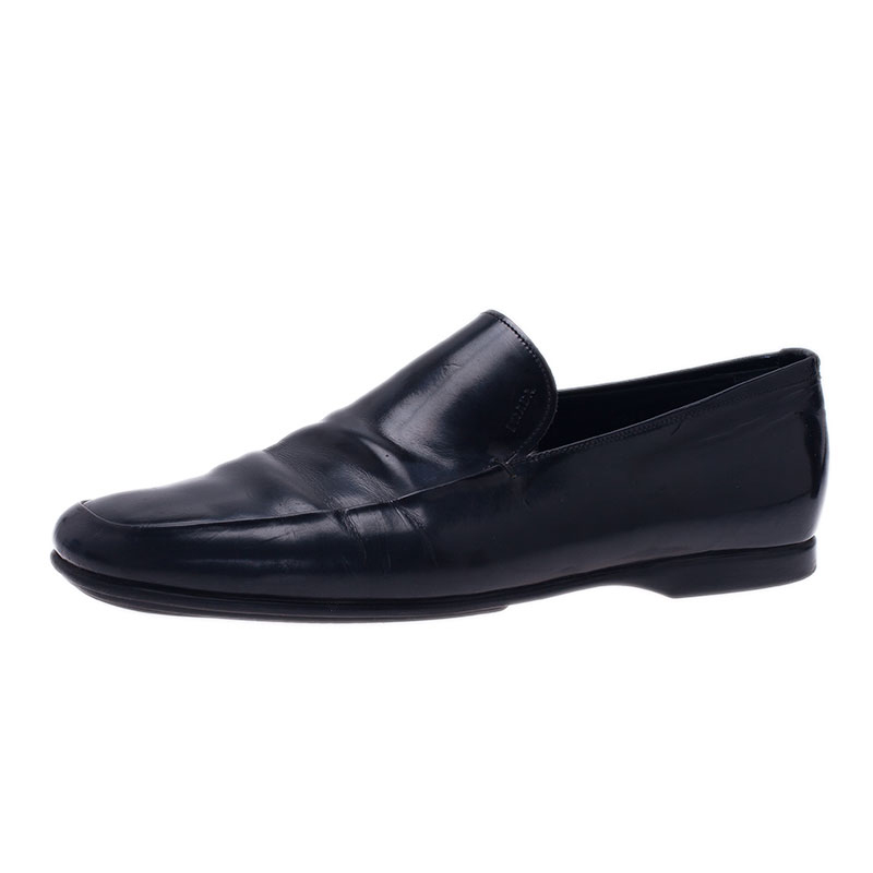 Prada Black Leather Loafers Size 43.5