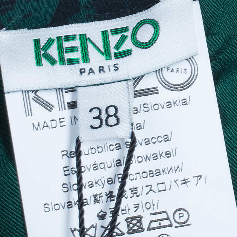 Kenzo Green Floral Pleated Skirt M