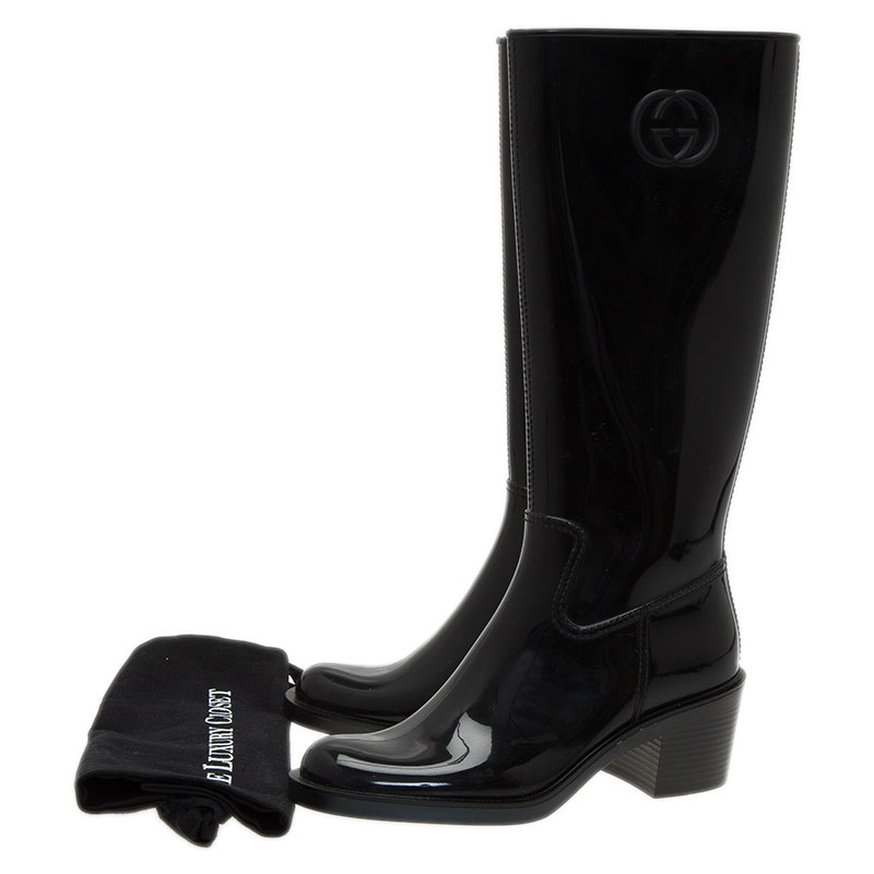 Gucci Black Rubber Interlocking GG Rainboots Size 38