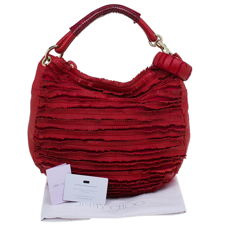 Jimmy Choo Red Leather Small Fringe Snake Skin Handle Sky Hobo Bag