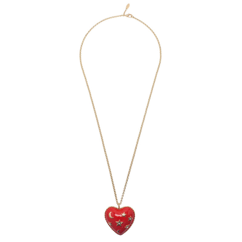 Moschino Moon And Stars Wide Red Pendant Necklace