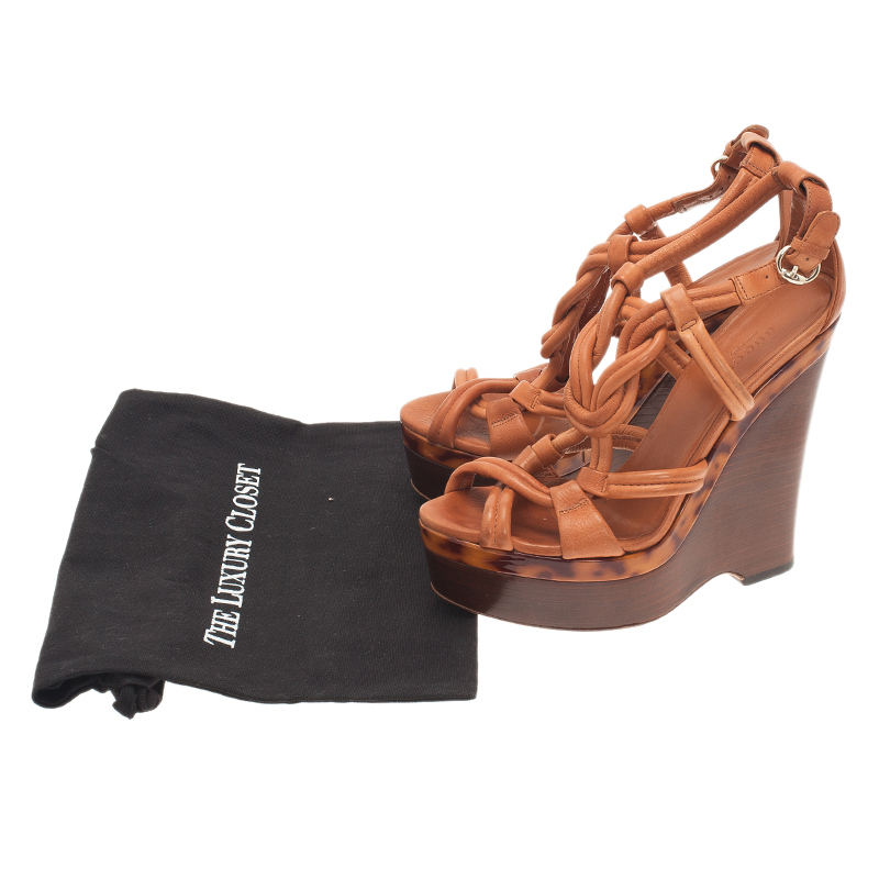 Gucci Brown Leather Kotao Tortoise Detail Wedges Size 39