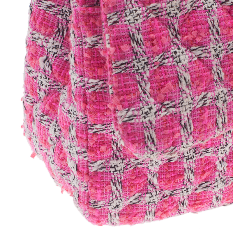 Chanel Pink Quilted Wool Tweed Jumbo Classic Double Flap Bag