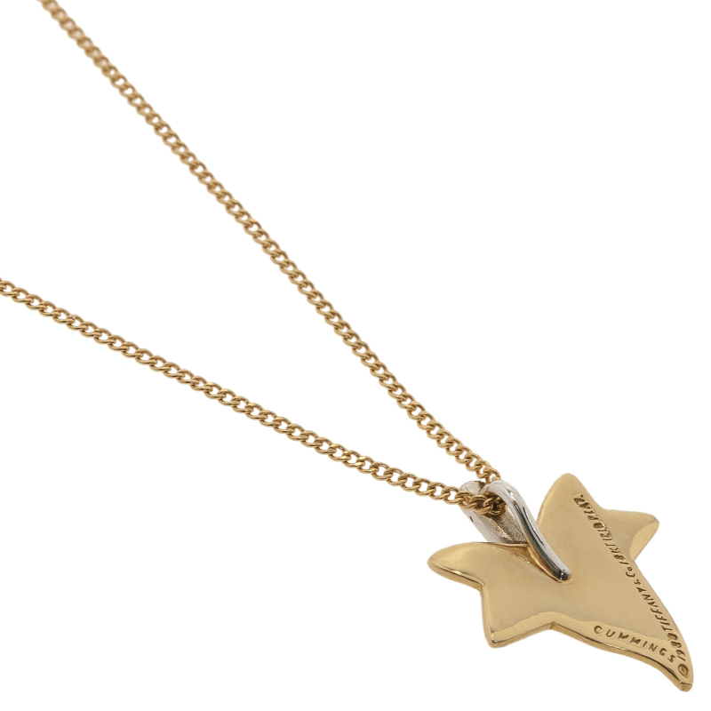 Tiffany & Co. Vintage Cummings Maple Leaf Diamond 18K Yellow Gold Platinum Pendant Necklace
