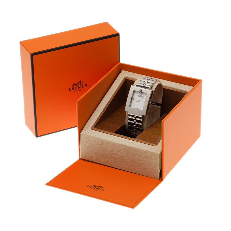 Hermes Creme Stainless Steel BE1.210 Women's Wristwatch 25MM