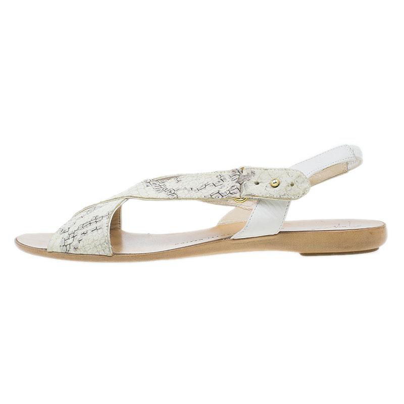Giuseppe Zanotti Cream Python Embossed Flat Sandals Size 37.5