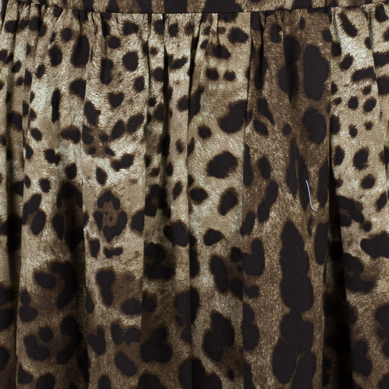 Dolce and Gabbana Leopard Print Cap-Sleeve Dress M