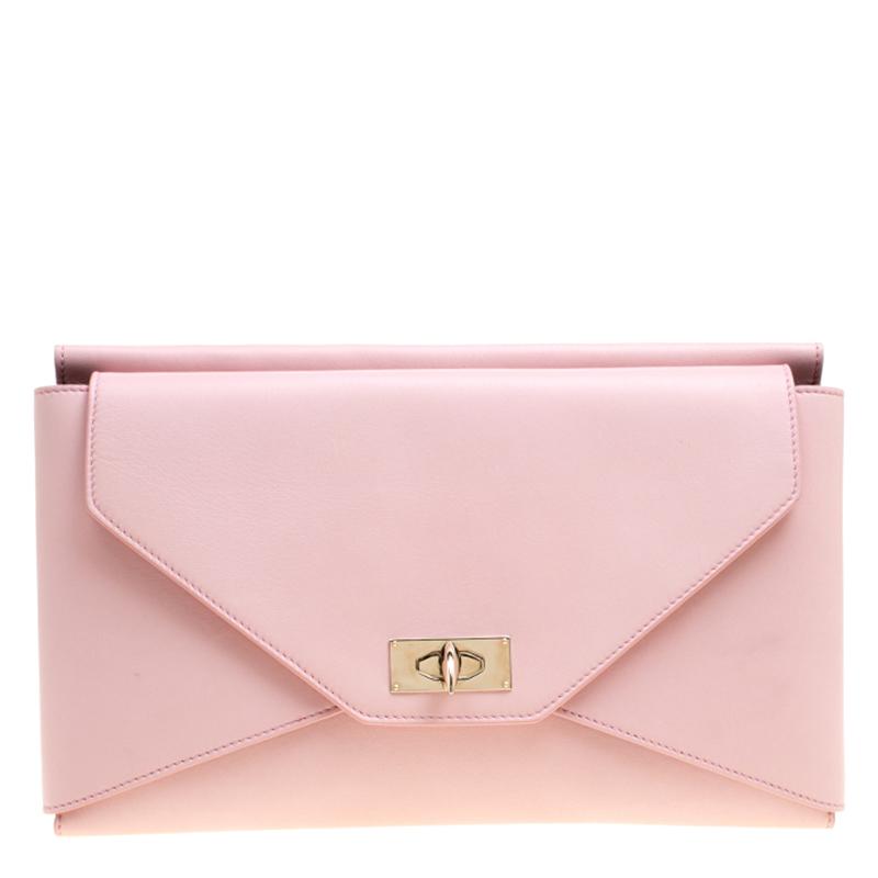 Купить со скидкой Givenchy Pink Leather Medium Shark Flap Clutch