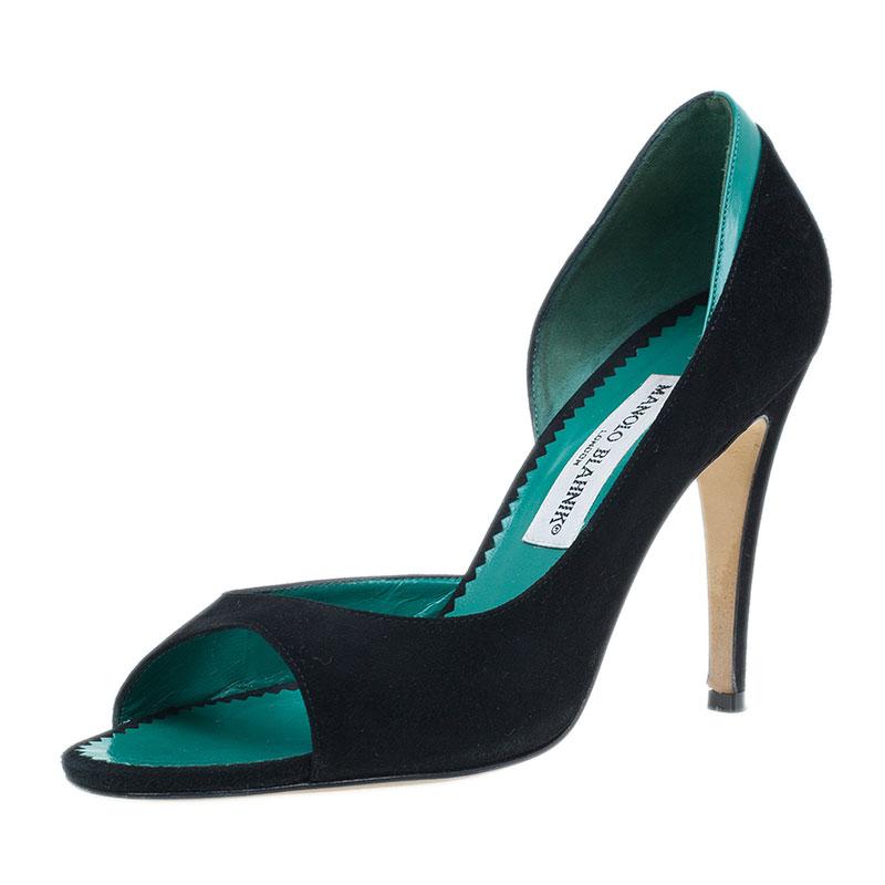 Manolo Blahnik Black Suede Open Toe Pumps Size 36