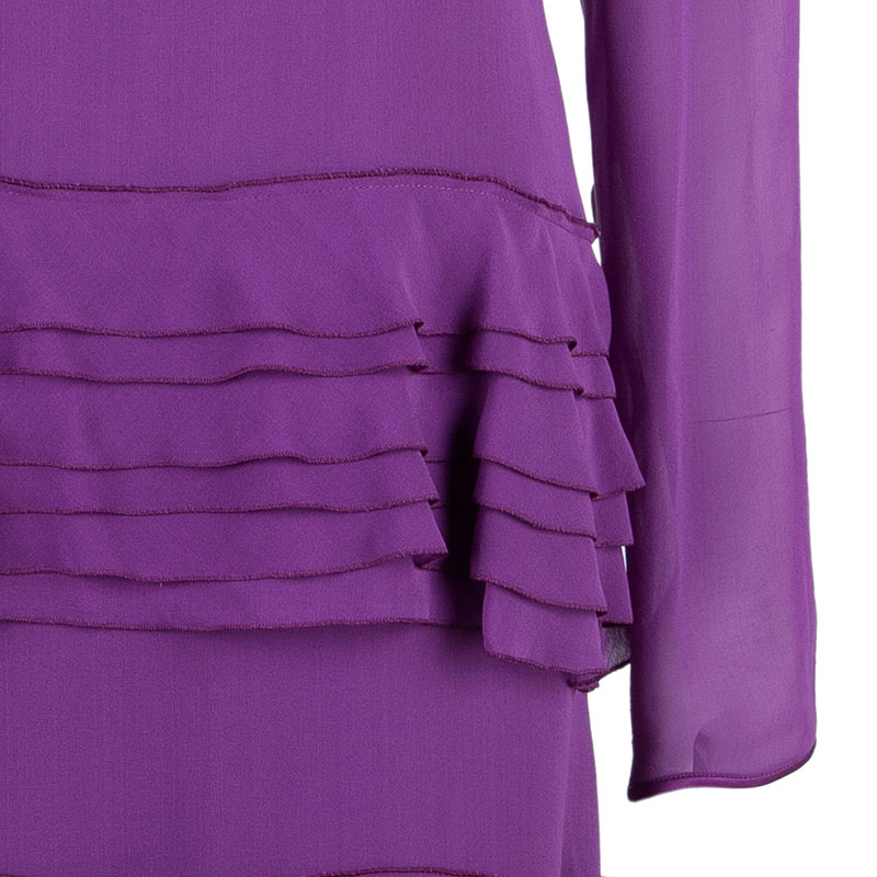 Alberta Ferretti Purple Tiered Silk Dress M