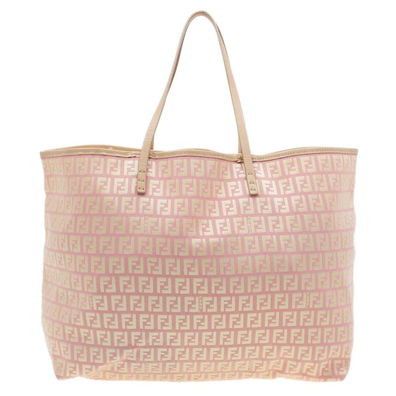 Fendi Pink Gold Zucchino Roll Tote Bag