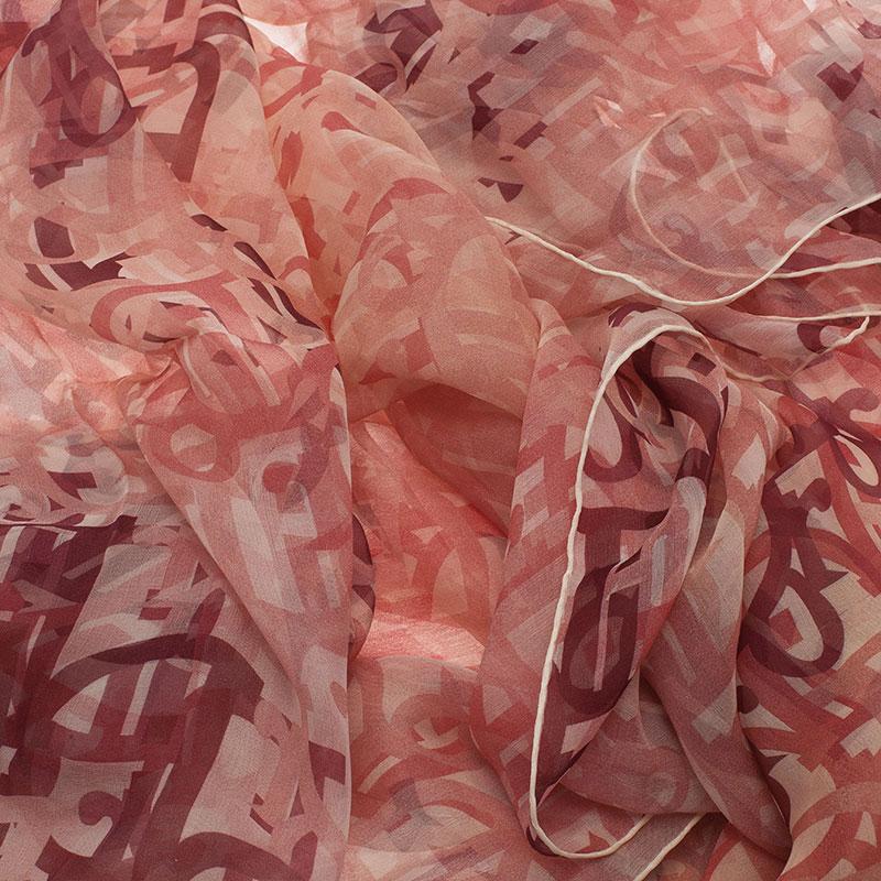 Dior Pink Silk Logo Scarf