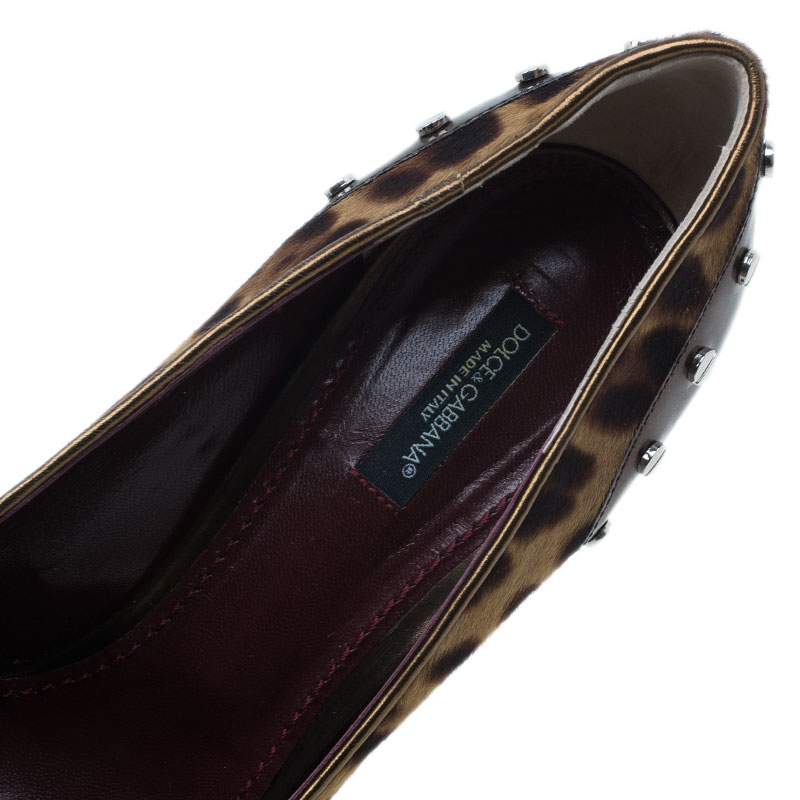 Dolce and Gabbana Brown Pony Hair and Leather Studded Pumps Size 40.5