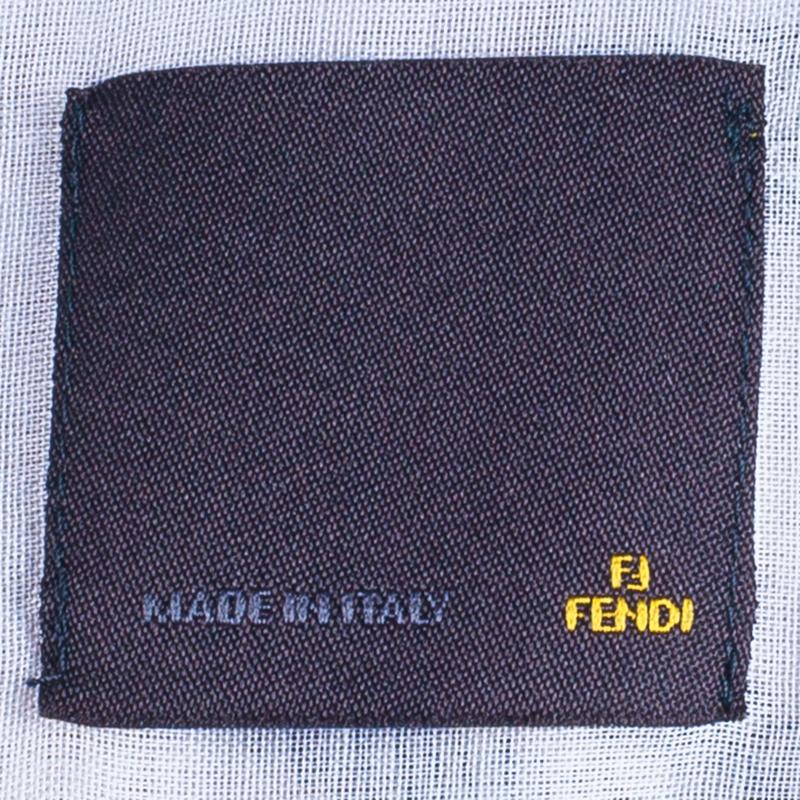 Fendi Men's White Embroidered Shirt L