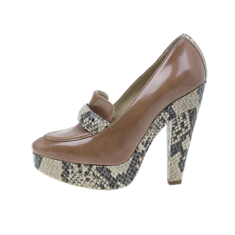 Stella McCartney Brown Python and Leather Pumps Size 36