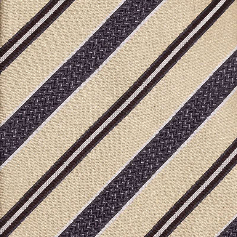 Ermenegildo Zegna Beige and Grey Silk Striped Tie