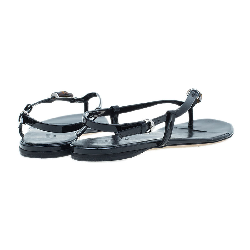 Gucci Black Patent Bamboo Icon Thong Flat Sandals Size 37.5