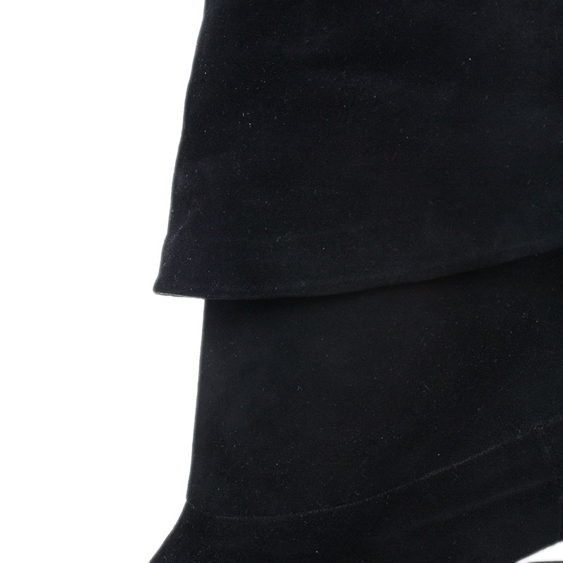 Gucci Black Suede Velvet Cuffed Platform Ankle Boots Size 40.5