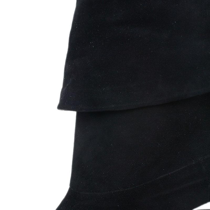 Gucci Black Suede Velvet Cuffed Platform Ankle Boots Size 40.5