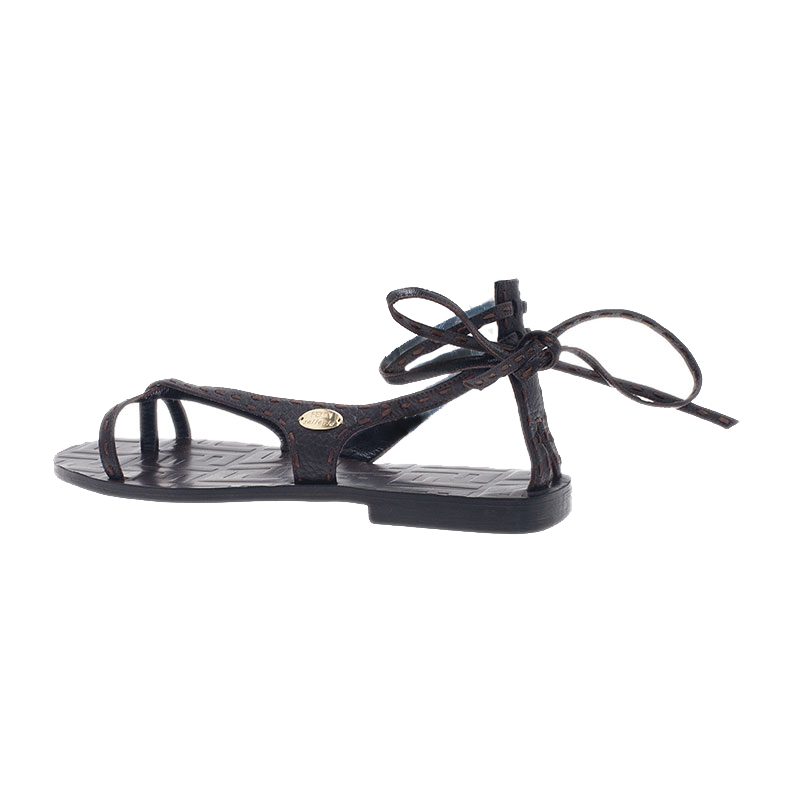 Fendi Brown Zucca Leather Ankle Wrap Flat Sandals Size 38.5