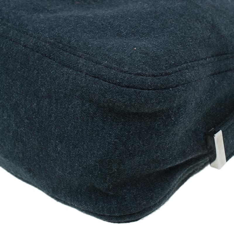 Fendi Grey Felt Baguette Shoulder Bag