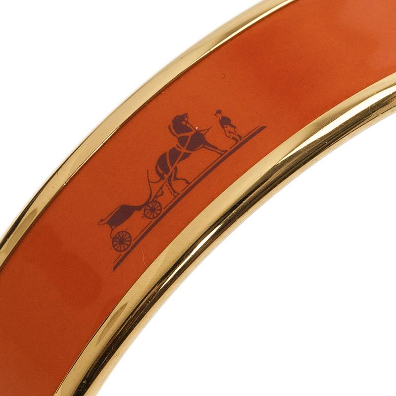 Hermes Caleche Wide Orange Enamel Palladium Plated Bracelet