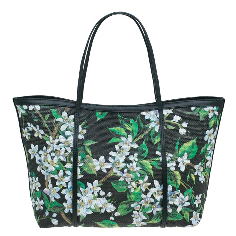 Dolce and Gabbana Black Floral Print Canvas Escape Shopper Tote Bag