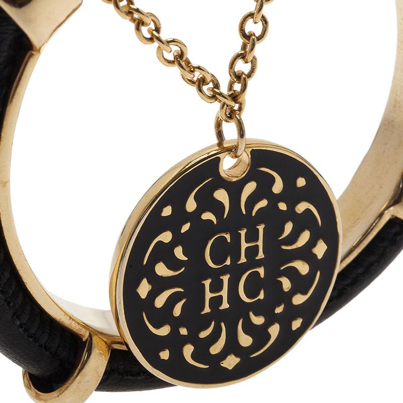 Carolina Herrera CH Black Leather Pendant Gold Tone Cuff Bracelet