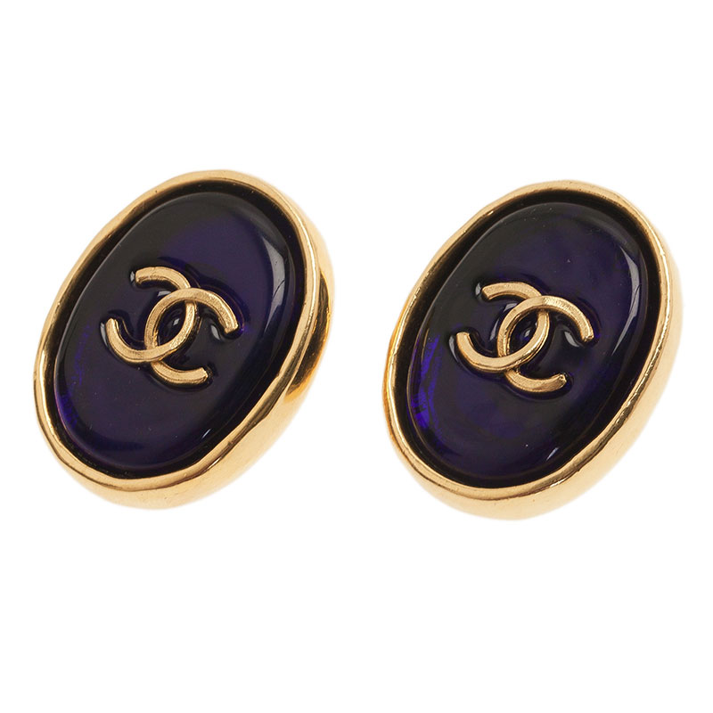 Chanel Vintage CC Blue Gold Tone Clip On Earrings