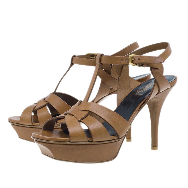 Saint Laurent Brown Tribute Sandals Size 38