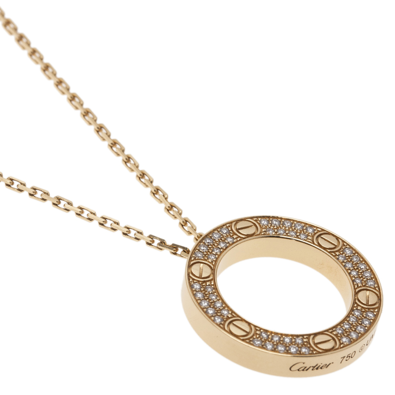 Cartier Love Diamond Rose Gold Pendant Necklace