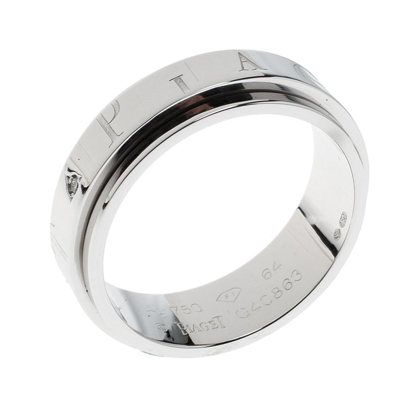 Купить со скидкой Piaget Possession Logo Motif 18k White Gold Band Ring Size 64