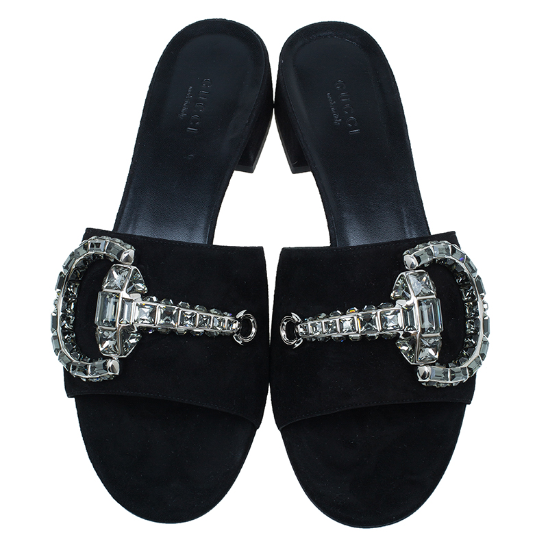 Gucci Black Suede Maxime Crystal Icon Bit Slides Size 38.5