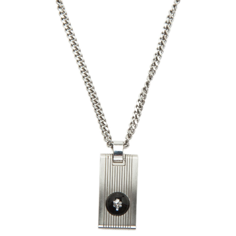 Montblanc Diamond Stainless Steel Pendant Necklace