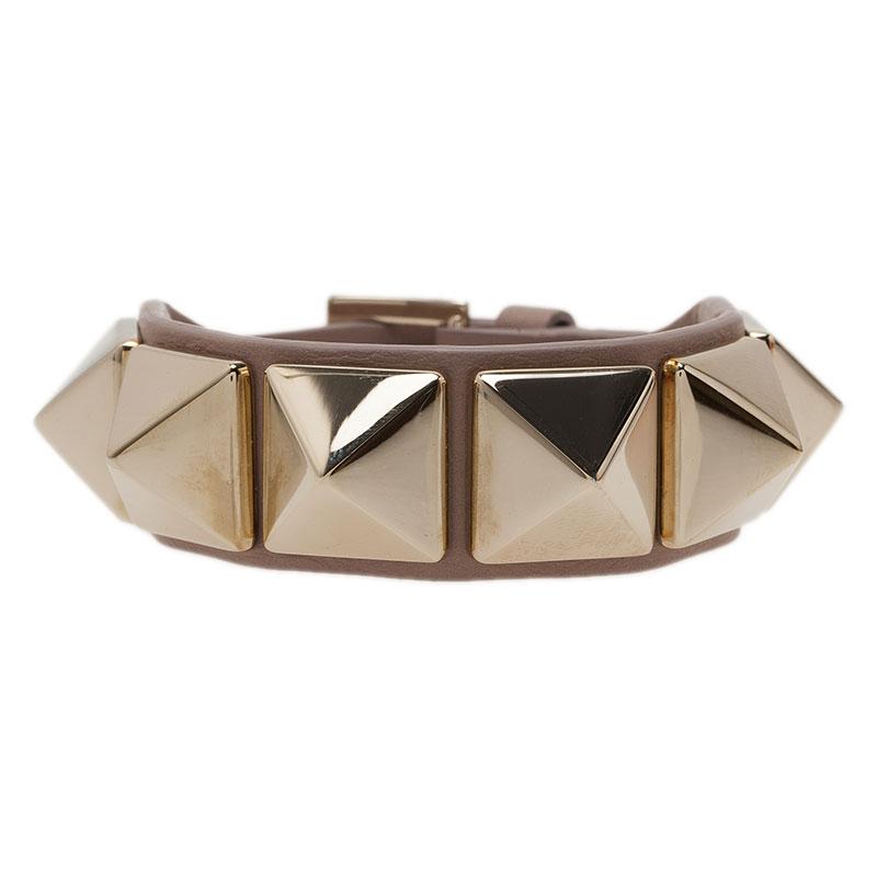 Valentino Rockstud Macro Stud Leather Bracelet