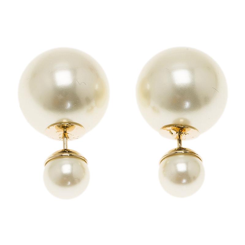 Dior Tribale Faux Pearl Stud Earrings