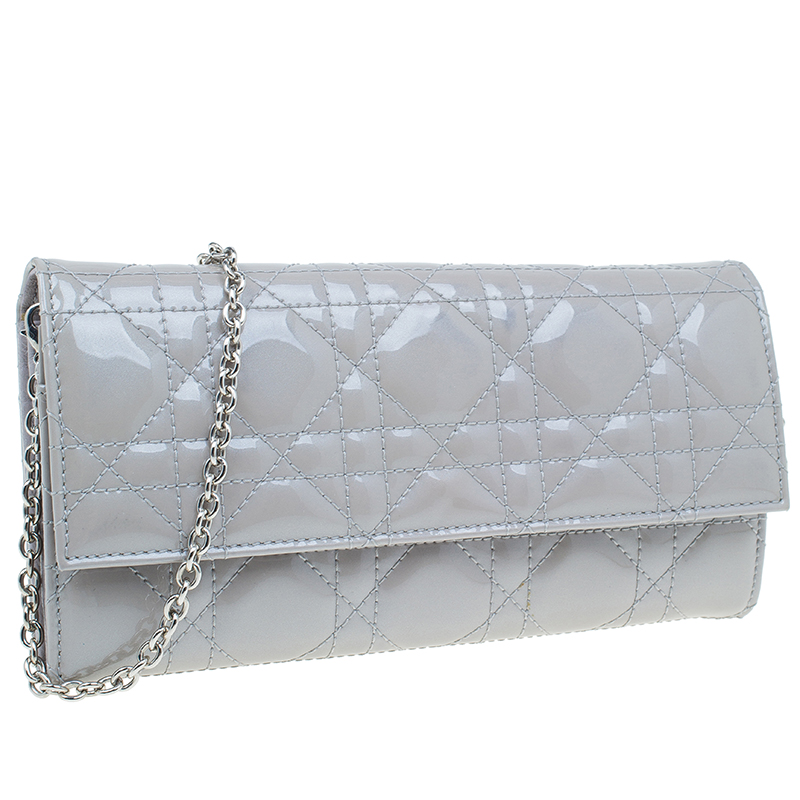 Dior Grey Cannage Patent Leather Wallet on Chain