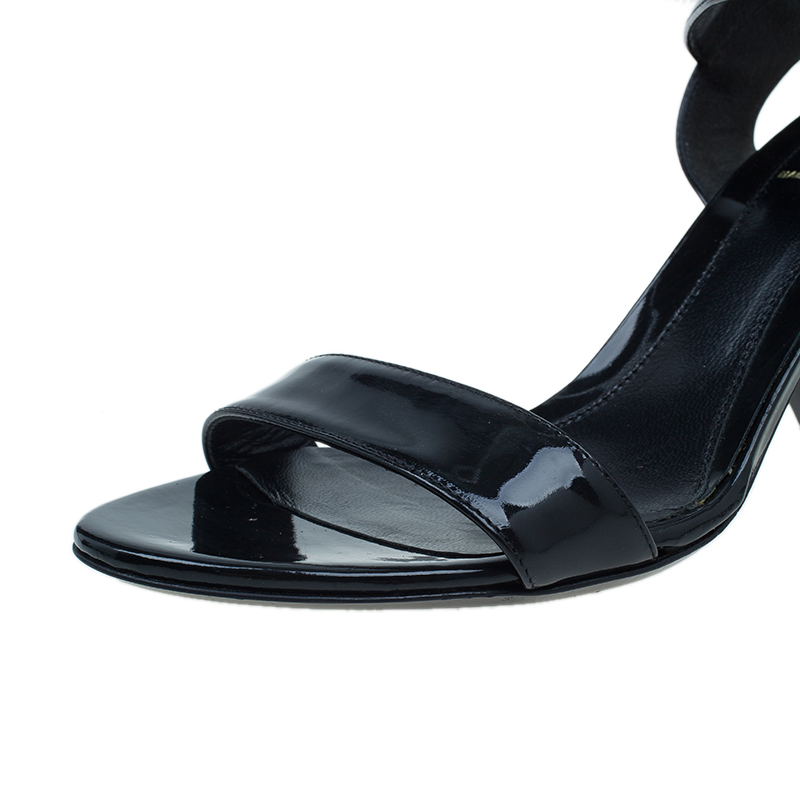 Fendi Black Leather Ankle Strap Flat Sandals Size 37.5