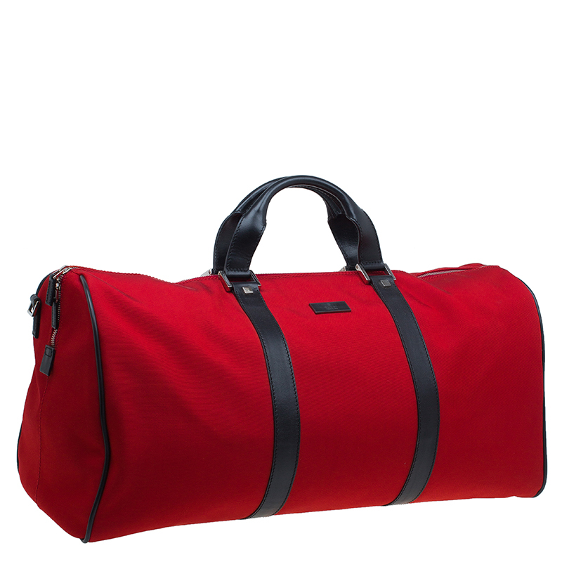 Gucci Red Nylon Travel Boston Bag