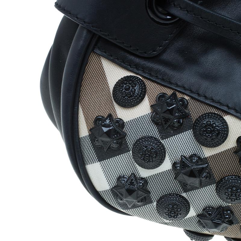 Burberry Black Nova Check Warrior Studded Hobo Bag